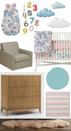 Fabulous Love Paper Maiche clouds for nursery paired w the DwellStudio Thompson Glider diy