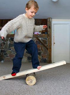 Log balancing makes great gross motor activities for preschoolers
