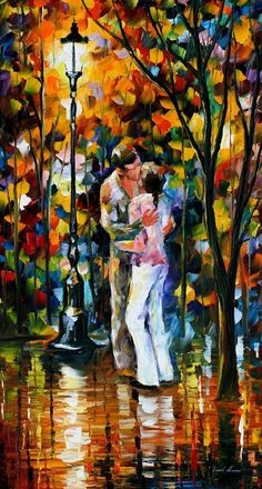 "FAREWELL — PALETTE KNIFE Oil Painting On Canvas By Leonid Afremov - Size 20""x36"""