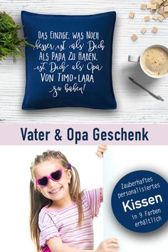 Papa /& Tochter Kissen 40x40 cm Geburtstag Geschenk Idee Geburt Mädchen Vater Neu