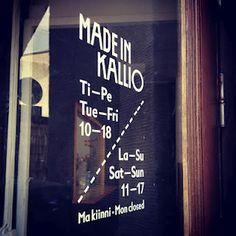 Made in Kallio. Factory shop & cafe & events @ Vaasankatu 14, Helsinki. http://www.madeinkallio.fi/