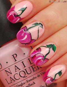 sexy nail Art Ideas for trend 2015 Nail Art Sexy, Sexy Nails, Cute Nails, Pretty Nails, Cherry Nail Art, Fruit Nail Art, Manicure, Wow Nails, Uñas Fashion