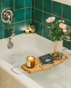green bathroom Peel and Stick Tiles Are the Solution to Your Dingy Rental Bathroom Rental Bathroom, Rental Kitchen, Boho Bathroom, Bathroom Ideas, Bathroom Accesories, Bathroom Flowers, Bathroom Inspiration, Bathroom Green, Bathroom Canvas