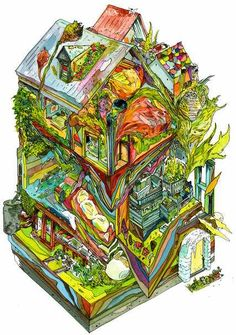 Cool transection of a house