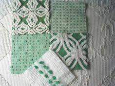 Vintage Green Chenille Bedspread Squares