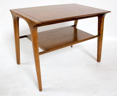 Pair of 1950s John Van Koert Walnut Side/End Tables for Drexel Profile | From a unique collection of antique and modern side tables at https://www.1stdibs.com/furniture/tables/side-tables/