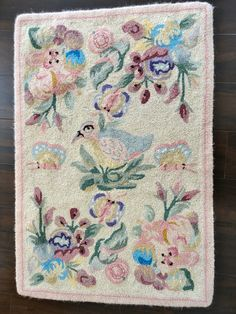 Hooked Rugs | Vintage Hooked Rug In Wool with Pastels, Flowers, Butterflies and a ...