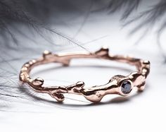 Black diamond 14k rose gold engagement ring - stacking twig ring - In Her Dreams