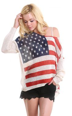 Woven American Flag Sweater BEIGE