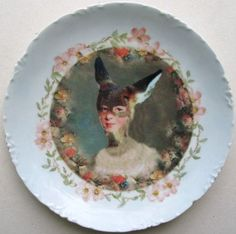 Portrait of Jane Doe - Altered Antique Plate by BeatUpCreations