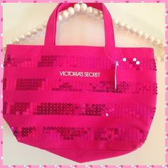 """Sequins For Sara"" cute VS bag! NWT A sweet lil bag from Victoria's Secret! Alternating bands of hot pink sequins. Canvas fabric. 12 inches across, 7 1/2 inches high and drop of 4 1/2 inches. Has label tag but not price tag. Victoria's Secret Bags"