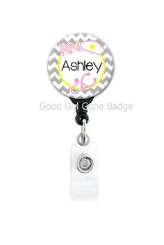 Retractable Badge Reel - RN, LPN, MA, CMA and more! Perfect gift for a nurse or medical professional. Badge Reel, Badge Holder, Name Tag, Nurse Gift  GoodGirlGoneBadge.etsy.com
