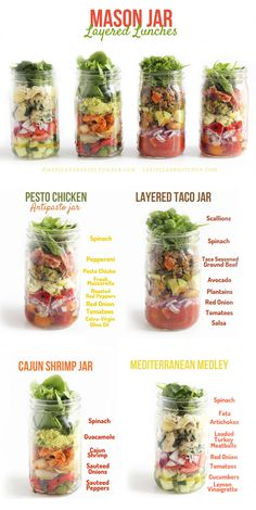 """""• 18 Mason Jar Salads That Make Perfect Healthy Lunches [X] • 6 Simple Salads Mason Jar Receipes [X] 30 Jarred Salads from Produce with Amy Blog: • Classic Salad Bar in a Jar & Waldorf Inspired Slaw..."