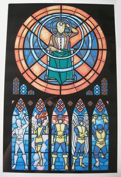 """$25.00 Stained Glass Original X-men Print  -put over a 10""""x15"""" window to make a stained glass masterpiece Stained Glass Art, Stained Glass Windows, Comic Book Characters, Comic Books Art, Comic Art, Sailor Moon, Xmen, Marvel Heroes, Marvel Dc Comics"""