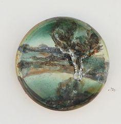 Червяков А.Д. тарелка «Рассвет» D 20см глина, глазури