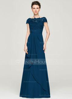 70c6e47a9  US  164.84  A-Line Princess Off-the-Shoulder Floor-Length Chiffon Lace  Mother of the Bride Dress With Cascading Ruffles - JenJenHouse
