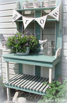 Salvaged door potting bench Love this idea! I could use a potting bench! I'm thinking maybe some pallets....