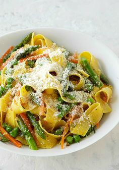 Asparagus-Pasta Toss – Give pappardelle pasta a quick toss with asparagus, Parmesan and seasonings and you've got a family-pleasing weeknight dish in less than 30 minutes.
