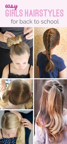 The cutest, the smartest, but most importantly, the most EASY Back To School Hairstyles for girls! Easy Hairstyles For School, Teenage Hairstyles, Baby Girl Hairstyles, Trendy Hairstyles, Braided Hairstyles, Female Hairstyles, School Hairdos, Choppy Hairstyles, Easy Little Girl Hairstyles