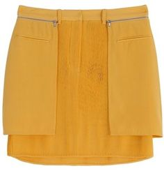 3.1 Phillip Lim Pleated Silk Mini Skirt yellow