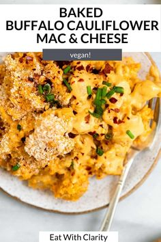 this baked vegan buffalo cauliflower mac and cheese is the perfect game day recipe. it's creamy, easy to make and perfectly spiced. Make this vegan mac and cheese gluten free too! #macandcheese #veganmacandcheese Baked Buffalo Cauliflower, Cauliflower Mac And Cheese, Vegan Mac And Cheese, Macaroni And Cheese, Perfect Game, Perfect Food, Buffalo Mac N Cheese Recipe, Vegan Dinner Recipes, Healthy Recipes