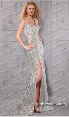gorgeous ruched fitted floor length chiffon overlay sequin gown Silver Dresses -Prom Dresses-Prom Dresses 2015