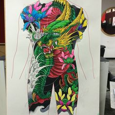 Sketch for today japanes sketch Japanese Snake Tattoo, Asian Dragon Tattoo, Hannya Mask Tattoo, Back Piece Tattoo, Full Back Tattoos, Japan Tattoo, Dragon Tattoo Designs, Japanese Characters, Thai Style