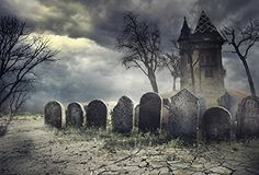 Haunted house on spooky graveyard. Halloween scary party design with tombstones and old castle on creepy cemetery at night. Halloween Haunted Houses, Halloween Ghosts, Haunted Graveyard, Scary Houses, Haunted Forest, Halloween 2018, Halloween Night, Halloween Treats, Happy Halloween