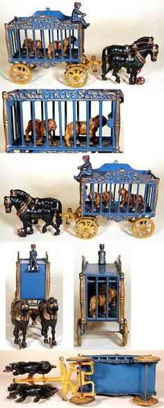 Circus cast metal toys with removeable riders. Metal Toys, Tin Toys, Wooden Toys, Antique Toys, Vintage Toys, Circus Crafts, Victorian Toys, Vintage Circus Posters, Classic Toys