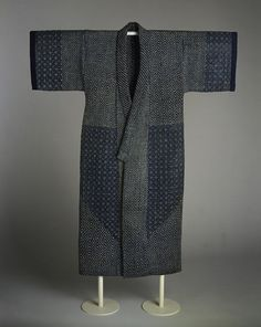 Sashiko Kimono Period: Meiji period Date: century Culture: Japan Medium: Indigo-dyed plain-weave cotton, quilted and embroidered with white cotton thread Dimensions: Overall: 55 x 45 in. x cm) Classification: Costumes C Sashiko Embroidery, Japanese Embroidery, Custom Embroidery, Embroidery Stitches, Abaya Fashion, Kimono Fashion, Mode Kimono, Mode Abaya, Japanese Textiles