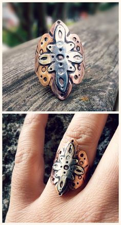 Beautiful Mandala ring by Alice Savage, made of copper and sterling silver. Boho, bohemian, hippie, yoga, ethno style. Artisan jewelry, she has them as made to order in your size! Shop: www.alicesavage.eu