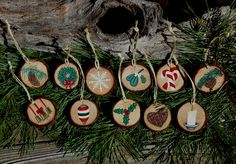 "Handmade, hand painted 1-1/2"" wood slice Christmas decorations. $3.00 each or choose any 10 for $25.00, shipping $2.95"
