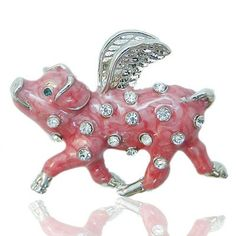 Pink Pigs Fly ring with rhinestones by InHogHeaven on Etsy