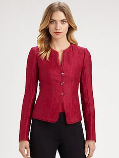 Great color + clean lines = power jacket! Armani Collezioni Textured Jacket