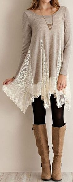 Trendy Scoop Collar Long Sleeve Lace Splicing Asymmetrical Women's Dress Never been a fan of dresses but this one is perfect for Autumn/Winter time! Mode Outfits, Fall Outfits, Fashion Outfits, Fashion Ideas, Fashion Images, Fashion Clothes, Stylish Outfits, Fashion Trends, Look Fashion