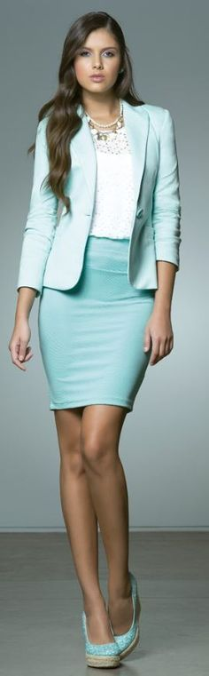 Seafoam Green Skirt Suit White Blouse and Seafoam Green Wedges
