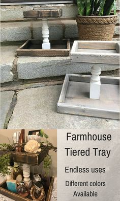 Love this Farmhouse Style Tiered Tray! The uses are endless, I can use it in just about every room in the house. There are different colors available too, perfect for Farmhouse Style Decor! #farmhouse #farmhousestyle #ad #shabbychic