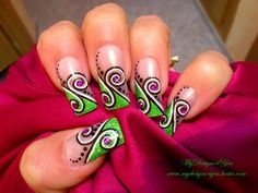 Easy Green Swirl Nail Art Design Tutorial - ♥ MyDesigns4You ♥ - YouTube