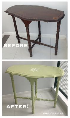 Andrea Guerriero - DRE DESIGNS - www.dredesigns.ca www.facebook.com/dredesigns.ca Fabulous end table painted using Fusion Mineral Paint in Upper Canada with stencil painted in Casement.