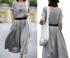 Mujeres Gris elegante vestido chaleco Sweep Forma Lino vestido largo. xxs, xs, s, m, L, XL, XXL, XXXL