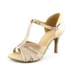 Women's Satin Heels Sandals Latin With T-Strap Dance Shoes (053016446)