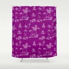 Toile Purple Unicorn Shower Curtain