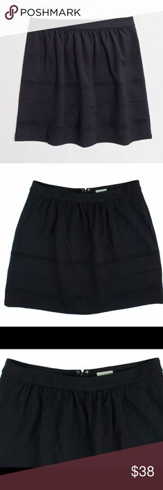"""New JCREW Black Knit Swingy Stretch Mini Skirt This new black swingy stretch mini from JCREW (Factory) features a zip up closure and is unlined. Made of a stretch knit. Measures: waist: 28-32"""" (stretches) hips: 44"""", total length: 17"""" J. Crew Skirts Mini"""