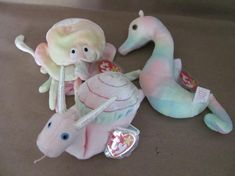 Vintage Beanie Babies, Ty Beanie Babies, Neon the Seahorse, Swirly the Snail, Goochy the Octo Beanie Babies Worth, Rare Beanie Babies, Baby Snail, Ty Stuffed Animals, Ty Babies, Butterfly Dragon, Monarch Butterfly, Snails, Hang Tags