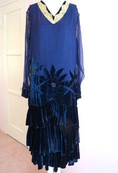 Art Deco 1920s Flapper Dress Silk Chiffon & Silk Velvet Ruffles
