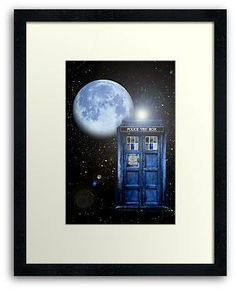 Tardis doctor who with Full Blue Moon in the space - FRAMED PRINTS, POSTER AND CARDS