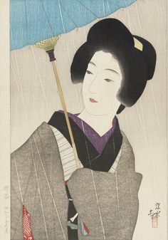 Late autumn/early winter shower  1927    Ito Shinsui , (Japanese, 1898 - 1972)   Showa era     Woodblock print; ink, color and silver mica on paper. Japan
