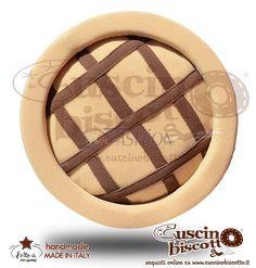Cuscino Biscotto - Crostatina - Fondo Beige (Fatto a mano)