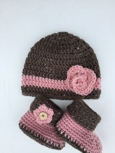 Pink Baby Hat and Booties Set Crochet Beanie Hat by SmileyGoose