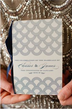 Love this art deco invitation. Photo by Spindle Photography. www.wedsociety.com #wedding #invitation #gatsby